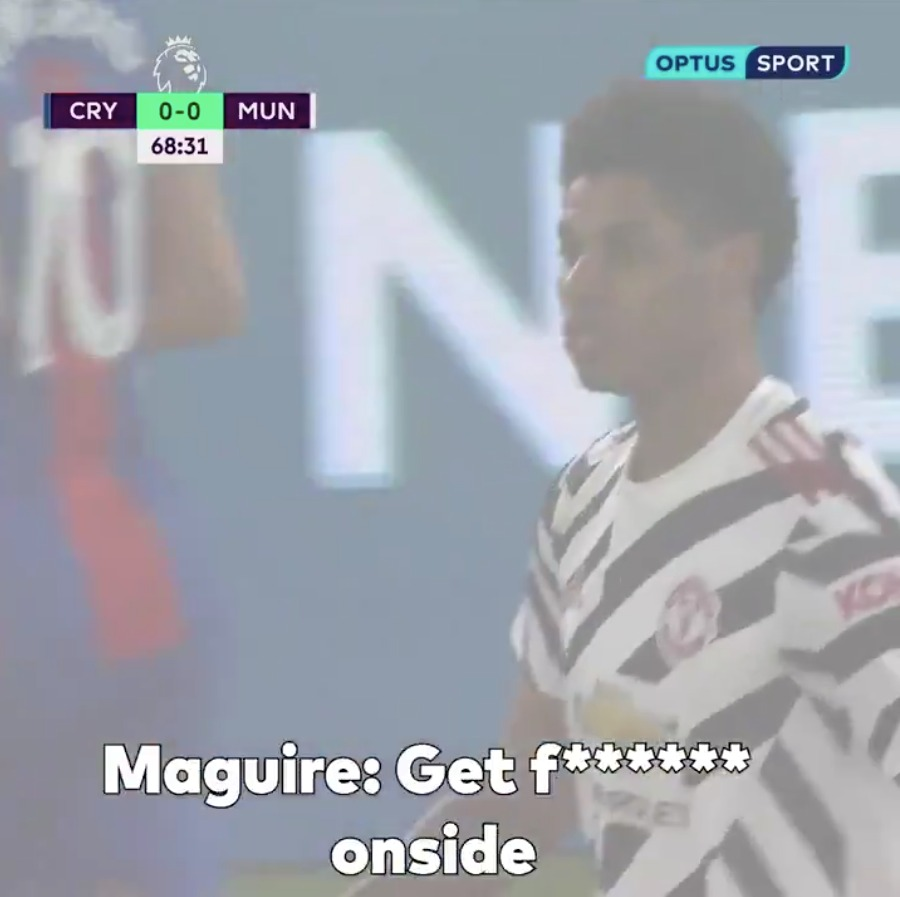 Harry Maguire & Marcus Rashford were caught in a heated, explicit exchange of words vs Crystal Palace